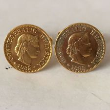"Gold plated ""Libertas"" coins circa 1893 and 1932 cufllinks Lot 123"