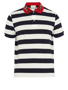 6f41047b60d Gucci Snake-appliqué striped cotton polo shirt