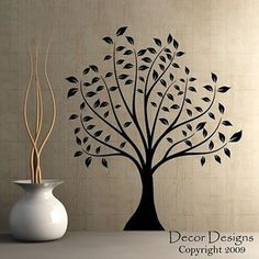 Large Leafed Tree Vinyl Wall Decal Sticker