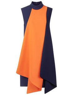 Navy & Orange Folded Contrast Dress
