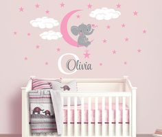 Elephant Custom Name Personalized Initial Wall Decal Sticker For - Wall decals nursery girl