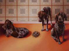 Bird Dogs by Colorado artist Dana Hawk via Dog Art Today