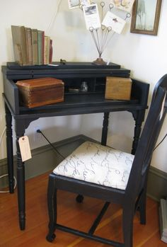 Vintage desk and long time companion chair - redone in classic black