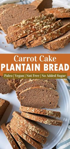 This healthy plantain bread recipe is made with ripe plantains and raw carrots. It's great for making toast or sandwiches and pairs well with both sweet and savory toppings. This Paleo plantain bread is grain free, nut free, egg free, has no added sugar and Vegan friendly. #plantainbread #vegan #paleo #aip #eggfree Plantain Bread, Ripe Plantain, Nut Free, Dairy Free, Grain Free, Eggless Recipes, Healthy Recipes, Healthy Foods