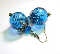 Jewelry Earrings Blue Teal Hand Blown Swirl by SpiritCatDesigns