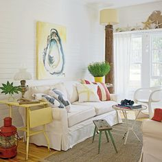 Laid-Back Living Room - 20 Beautiful Beach Cottages - Coastal Living