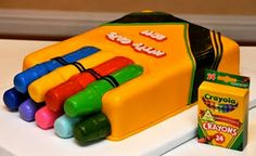 CUTE crayon cake!!!  Love it!  (Gotta learn how to make that fondant...)