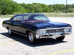 """Love this car '67 Chevy Impala """"baby""""  We always grew up with old cars, my dad had two 59 Chevy belairs and my brother had a 67 impala beauties <3   It being the car of choice in my fav. Show is a bonus! ^_^"""