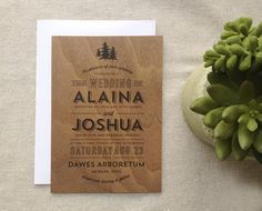 Woodland Rustic Real Wooden Wedding Invitation