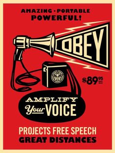 Fine Art - Work on Paper:Print, Shepard Fairey (b. Obey Megaphone Print, in colors on speckled paper. Art Pop, Obey Wallpaper, Kaws Wallpaper, Art Obey, Shepard Fairey Art, Illustration Photo, Graphic Illustration, Russian Constructivism, Political Art