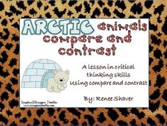 The Arctic Animals compared are: Harp seal and walrus, the bowhead and beluga whale, Arctic fox and Arctic hare, woodland caribou and polar bear, wolverine and Canada lynx, the Greenland shark and white-bearded dolphin. Each card has a color picture and a nonfiction paragraph of the Arctic animal. Included are lesson instructions, mini-lessons, 6 sets of cards (12 cards in all), a large Venn diagram with lines, and a paragraph frame.