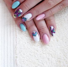 #aztec #nails #hand #made #manicure #paznokcie #etno #kolorowe #white