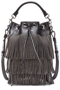 d82739b8024d Saint Laurent Small Seau Studded Bucket Bag with Fringe