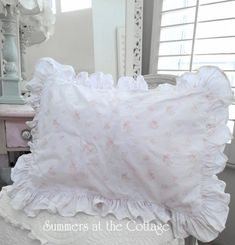 Shabby Chic Pink Roses Wildflower Bouquet ruffled Euro pillow shams with baby pink roses and rosebuds on white and a big ruffle to give it that wonderful vintage look! Shabby Chic Colors, Shabby Chic Baby, Shabby Chic Cottage, White Wicker Chair, Pillow Shams, Euro Shams, Cottage Furniture, Chic Bedding, How To Make Pillows
