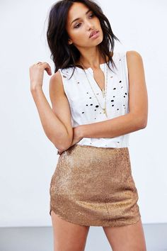 Gold Silence + Noise Sequin Shirttail Mini Skirt @ Urban Outfitters $40 LOVE