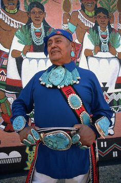 Zuni Turquoise Jeweler - DH007623 - Rights Managed - Stock Photo - CorbisMaster jeweler Chester Mahooty wears examples of his turquoise work at Pueblo Cultural Center, Albuquerque, New Mexico.