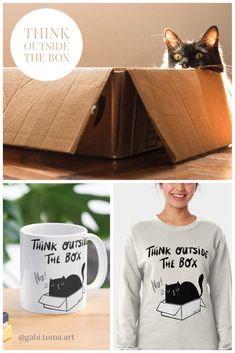 Think outside the box funny quote design with a cute black cat | by Gabi Toma on Redbubble Quote Design, Cute Black Cats, Thinking Outside The Box, The Outsiders, I Am Awesome, Funny Quotes, Messages, Lettering, Mugs