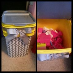 Kitty litter tub turned into toy bin