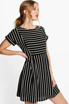 """""""boohoo Coraline Striped Smock Dress """" https://www.shopstylecollective.com/search?fl=r1745"""