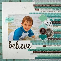 Kaisercraft Kit - Shop and Crop bonus layout Beach Scrapbook Layouts, Scrapbook Sketches, Travel Scrapbook, My Scrapbook, Scrapbooking Layouts, Scrapbook Designs, Photo Layouts, Finding Joy, Layout Inspiration