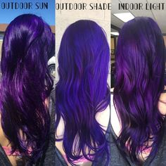 Deep Purple Hair - Hair and beauty - Deep Purple Hair, Violet Hair, Hair Color Purple, Hair Dye Colors, Cool Hair Color, Bright Purple Hair, Colorful Hair, Funky Hairstyles, Pretty Hairstyles