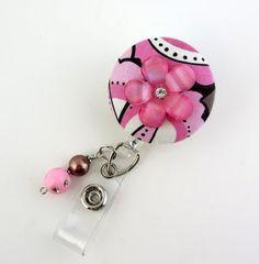 Cute Pink Flower Name Badge Holder Nurse Badge by LadyKarenBadges Pink Flower Names, Pink Flowers, Id Badge Holders, Badge Reel, Retractable Id Badge Holder, Nurse Badge, Name Badges, Cute Pink, Belly Button Rings