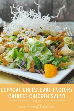 Copycat Cheesecake Factory Chinese Chicken Salad - Mommy Travels Salad recipes are my favorite solution Cheese Cake Factory, Green Veggies, Fresh Vegetables, Fruits And Veggies, Chicken Wraps, Taco Salat, Cheesecake Factory Recipes, Cheesecake Factory Chicken Salad Recipe, Chinese Chicken
