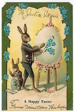 ***** Antique Old Easter Postcard  Humanized Rabbits Bunny Paints Fantasy *****