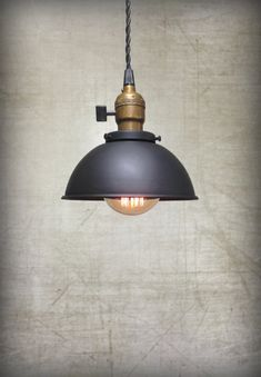 Ceiling Pendant Light Black Rustic Metal by RetroSteamWorks
