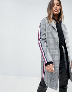 ASOS Slim Coat in Mono Check with Sports Trim