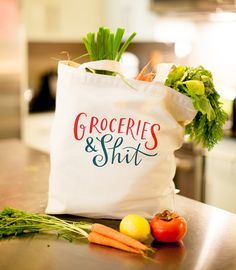 "This sturdy, heavyweight canvas tote is the perfect bag for carrying all your groceries & shit. It measures 18"" wide x 15"" high x 6"" deep, and is made from high-quality, heavyweight canvas. It features a gusseted bottom and shoulder straps with a 13"" drop, and was screen printed in Los Angeles using environmentally friendly water-based inks."