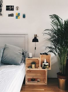 """made out of ikea """"knagglig"""" wooden crates - Zimmereinrichtung Wooden Crates Nightstand, Ikea Crates, Decoracion Habitacion Ideas, Crate Decor, Home Room Design, New Room, Diy Bedroom Decor, Home Decor, Home And Living"""