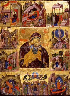 Byzantine Icon of the Life of Theotokos. Guess what? This is Pinterest 800 years ago!