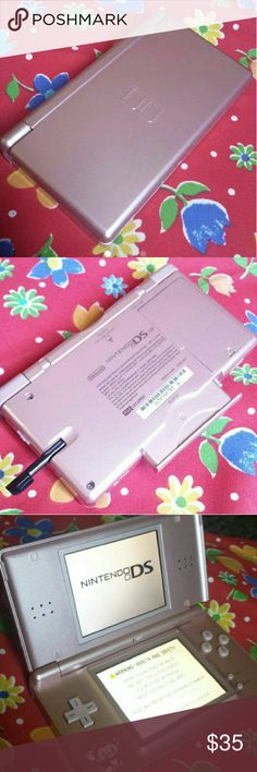 Rose Nintendo DS Lite Rose Nintendo DS Lite Still functional, comes with black stylus and original pink cartridge. No charger, does have some scratches and screens are a bit dirty only because of the removal of old screen protectors. Nintendo Accessories