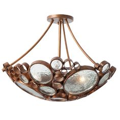 Fascination Three-Light Semi-Flush Ceiling-Light in Hammered Ore with Recycled Glass