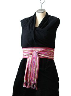 Boho Chic Fashion  Pink ikat Sash  Guatemalan by brizel4TheAnimals