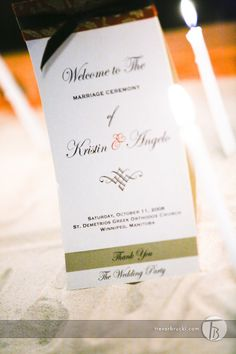 A wonderful welcome- Image courtesy of Trevor Brucki www.bruckistudio.com Event planning, coordination and decor by MWs www.madelinesweddings.com Ceremony Programs, Wedding Programs, Welcome Images, Menu Cards, Envelope Liners, How To Know, Wedding Stationery, How To Introduce Yourself, Event Planning