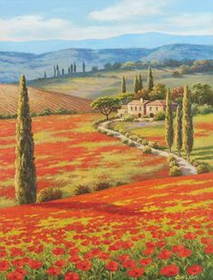 Global Gallery 'Red Poppy Field' by Sung Kim Painting Print on Wrapped Canvas Size: Art Watercolor, Watercolor Landscape, Landscape Art, Landscape Paintings, Pintura Exterior, Painting Prints, Art Prints, Painting Art, Tile Murals