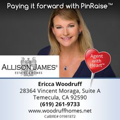 """PinRaise is very pleased to announce our newest addition to the Agent with Heart network, Ericca Woodruff of Temecula, CA. She will donate to the charitable cause of YOUR choice upon completion of a transaction. When buying or selling, be sure to connect with an agent that gives back to the community! Thanks for """"Paying it Forward"""" with PinRaise, Ericca!  www.WoodruffHomes.net Not on PinRaise? Learn more @ www.PinRaise.com   #ericcawoodruff #homebuyer #realestate  #donner #realtor…"""