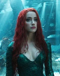 Amber Heard as Mera in Aquaman Amber Heard Style, Amber Heard Hot, Amber Heard Tumblr, Amber Head, Red Lace Front Wig, Aquaman 2018, Aquaman Film, Jenifer Aniston, Dc Heroes