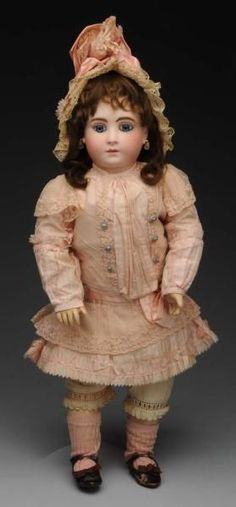 """French """"H"""" Bébé Halopeau Doll. Ca. 1880. Incised 2H, 20"""