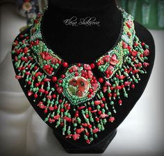 "Моя авторская работа.Колье ""Маков цвет"". Материал: коралл, бисер, кабошон (декупаж), натуральная кожа. My handiwork. Necklace ""poppies colour"". Material: coral, beads, cabochon (decoupage), genuine leather"