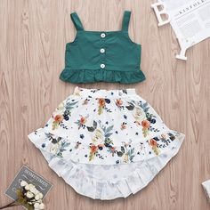 2019 Baby / Toddler Ruffled Top and Floral Print Dress – Kids Fashion Baby Outfits Newborn, Toddler Outfits, Kids Outfits, Cute Outfits, Toddler Dress, Baby Summer Dresses, Dresses Kids Girl, Dresses For Toddlers, Baby Dresses