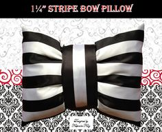 Striped Bow Pillows by keepsakekidz on Etsy