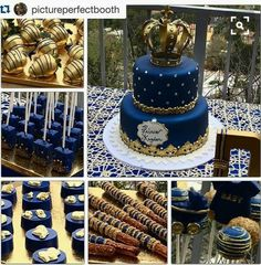 ・ Gold Chocolate Covered Strawberries, Royal Blue & Gold Rice Krispie Treats, Oreos, Pretzels and Cake Pops all done by Alice did an amazing job and her customer service is outstanding.That gorgeous, amazing cake done by Prince themed Baby Shower for Shower Party, Baby Shower Parties, Baby Shower Themes, Baby Shower Decorations, Shower Ideas, Royalty Baby Shower Theme, Prince Themed Baby Shower, Prince Baby Showers, Shower Centerpieces