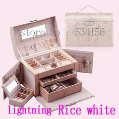 Envío gratis RU NUEVA Práctico joyero de cuero de lujo collar colgante pendientes de exhibición de la joyería caja de embalaje de regalo 10 color