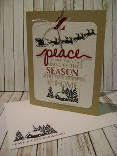 Stampin' Studio, Stampin' Up! Cozy Christmas, Softly Falling Embossing Folder, Christmas Greetings Thinlits