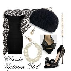 Classic Uptown Girl- Black, Lace, & Pearls, created by dani-stephan on Polyvore