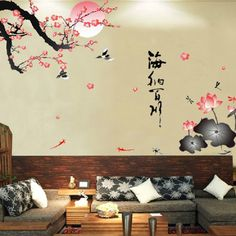 Generic All River Into the Sea Plum Blossom Lotus Flowers Removable Wall Sticker - 45 Beautiful Wall Decals Ideas & 45+ Beautiful Wall Decals Ideas | Pinterest | Wall decals Walls and ...