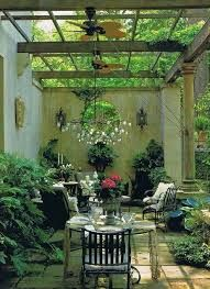Patio interior of a chic mini formal garden